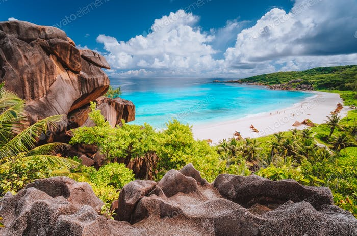 Panorama view of most spectacular tropical beach Grande Anse on La Digue Island, Seychelles