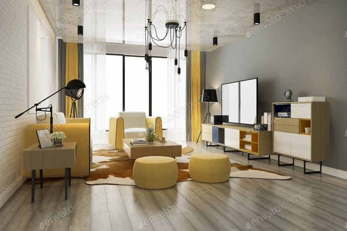 3d rendering luxury and modern yellow living room with sofa