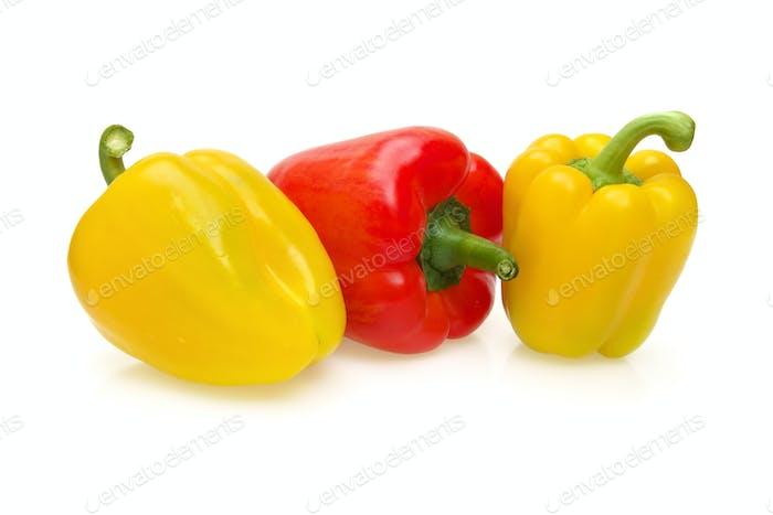 Gelbe und rote Paprika isoliert