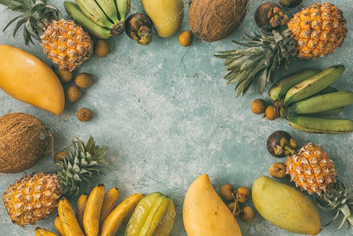 Summer tropical background with various fruits