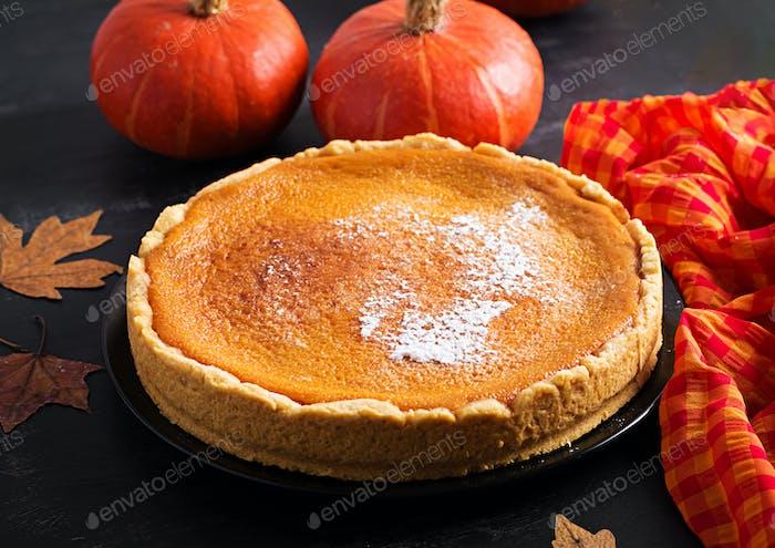 American Pumpkin Pie. Thanksgiving Day. American cuisine.