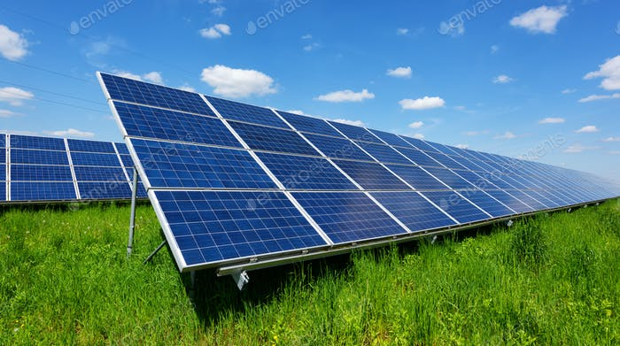 Solar panel on blue sky background
