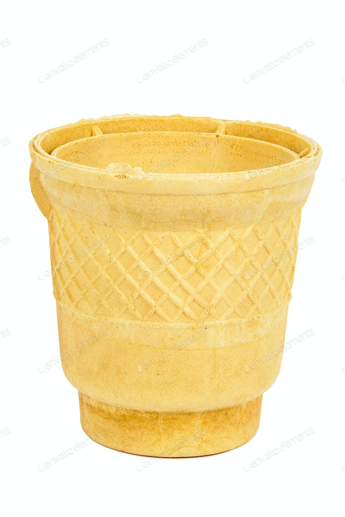 Empty waffle ice cream cup on white background