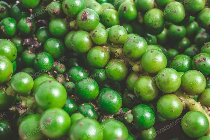 Close up of Green peppercorns.