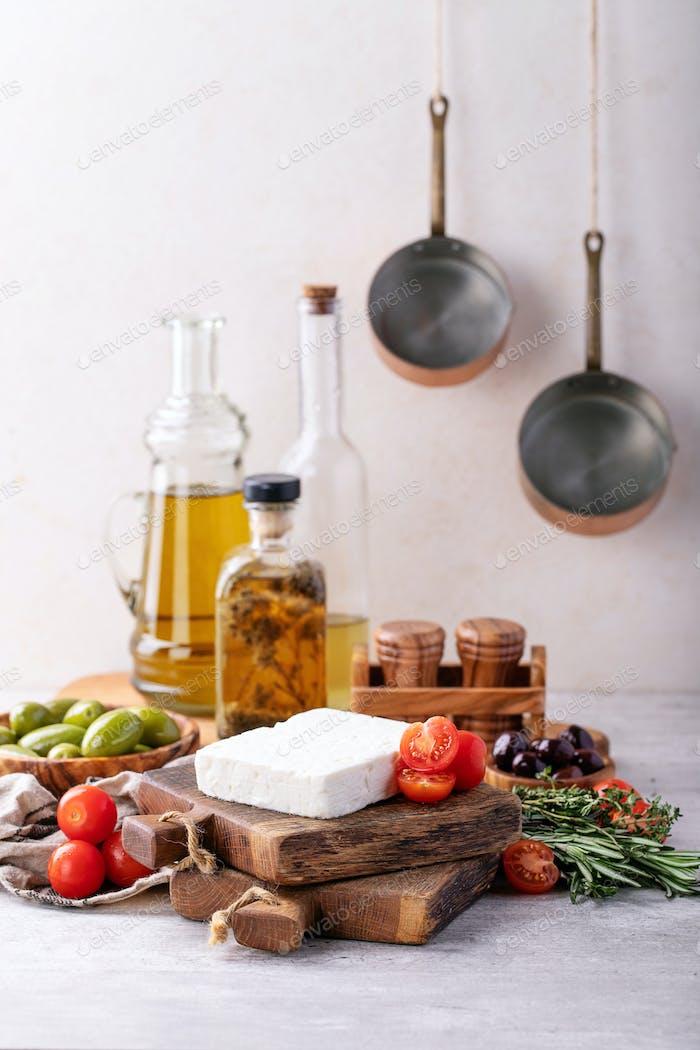 Traditionelle griechische Vorspeise Ziegenfeta Käse