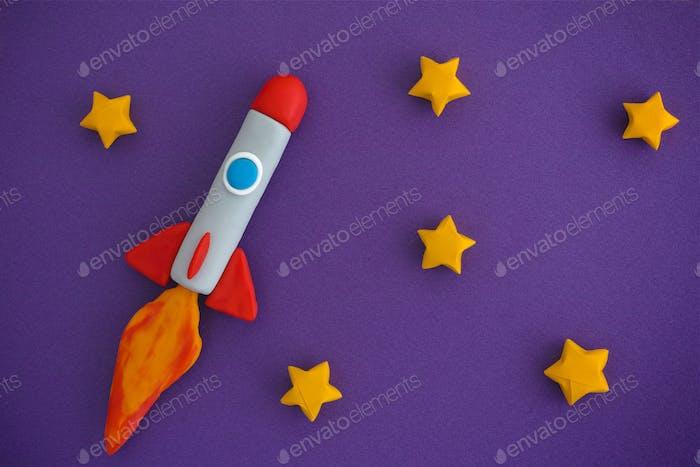 Space Rocket Fliegen für neue Ideen durch die Sterne