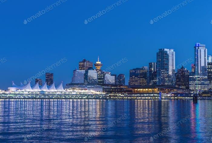 54716,Waterfront skyline illuminated at night, Vancouver, British Columbia, Canada,