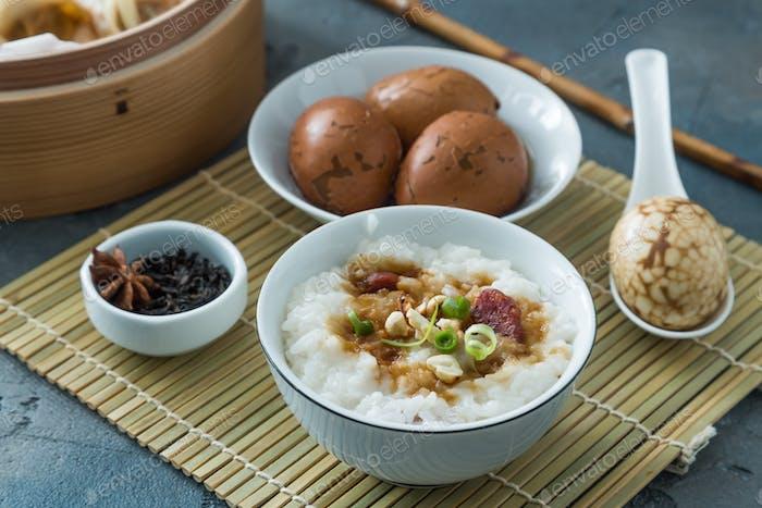 Traditional chinese rice porridge on dinner table