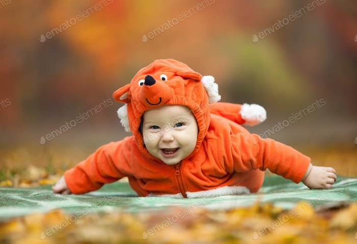 Baby boy in fox costume looking at camera