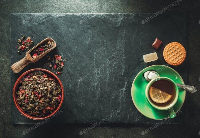 cup of tea and slate