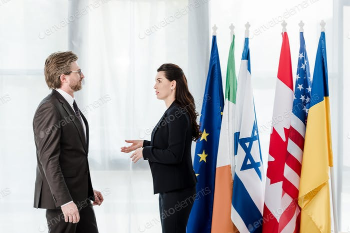 vista lateral de los diplomáticos hablando cerca de banderas en la embajada