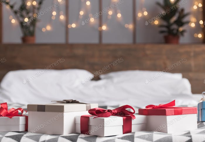 Christmas presents on bed
