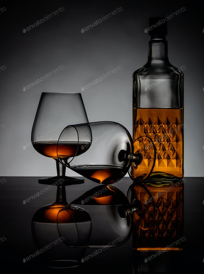 Cognac Glasses and Bottle
