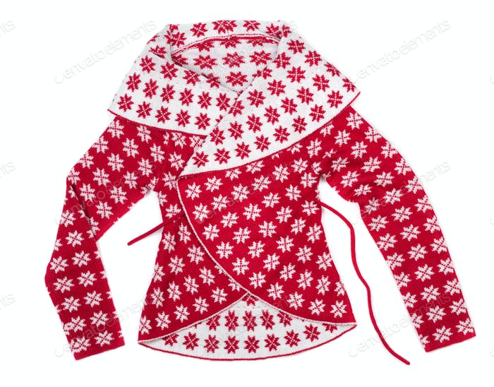 Women's fashion knitted sweater with a pattern of snowflakes