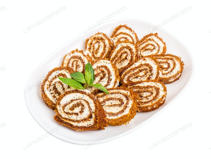 Delicious swiss roll with cream cheese.