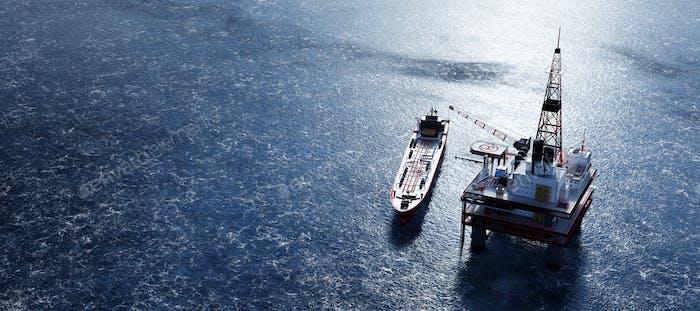Ölplattform auf dem Ozean. Offshore-Bohrungen für Gas und Erdöl