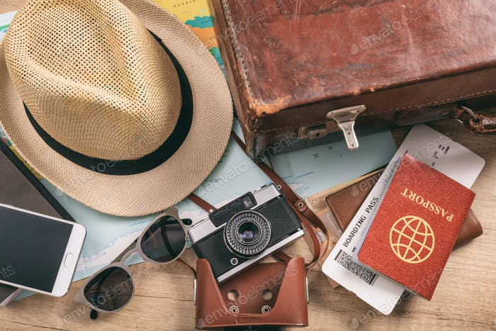 Travel and vacation accessories - top view