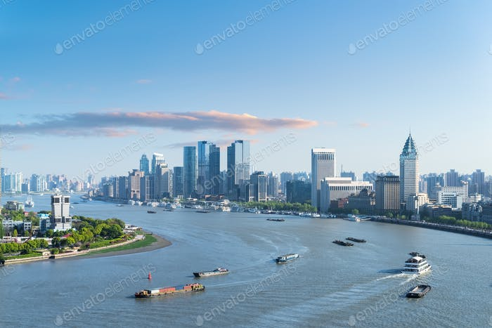 beautiful bend of huangpu river, shanghai cityscape at dusk