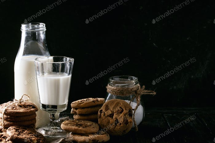 Homemade cookies with milk