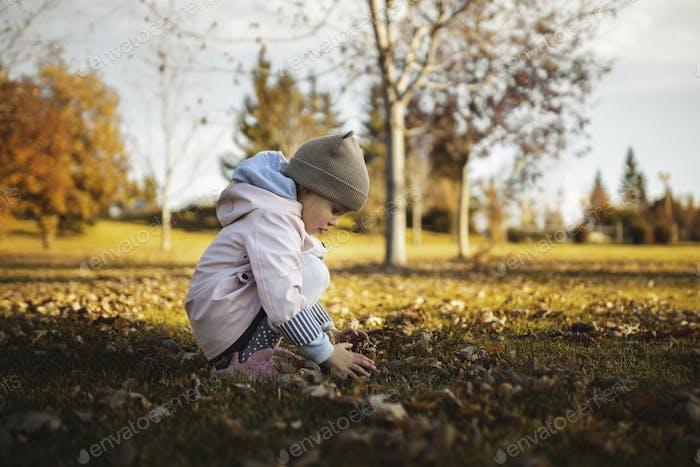 Kleines Kind, Baby Mädchen spielen mit fallenden Blättern auf dem Boden. Die Herbstsaison.