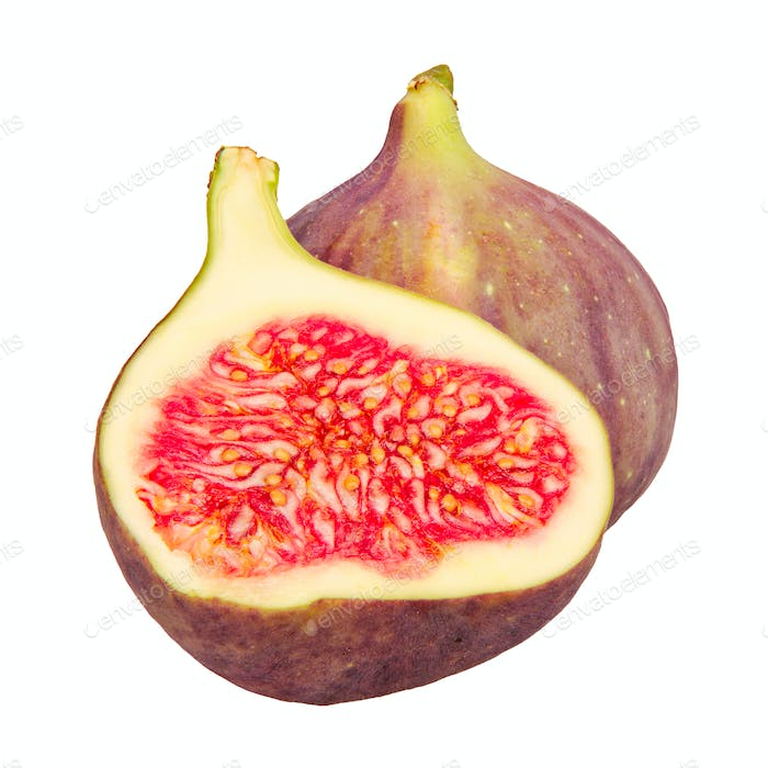 Ripe fig on a white background