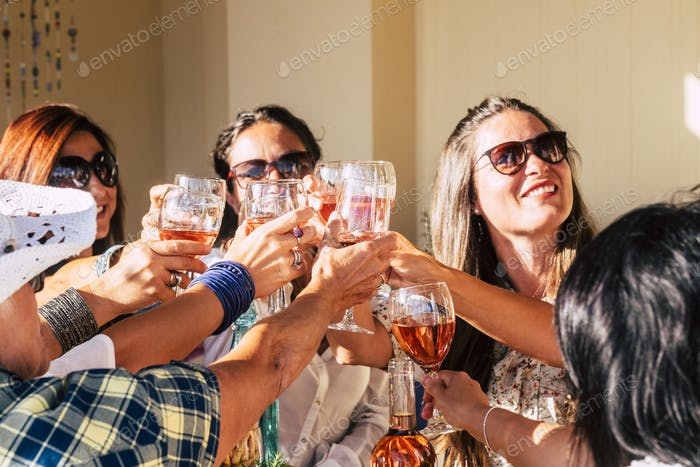Group of cheerful young caucasian women enjoying and celebrating together clinking