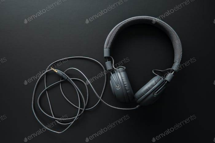 Black retro headphones.