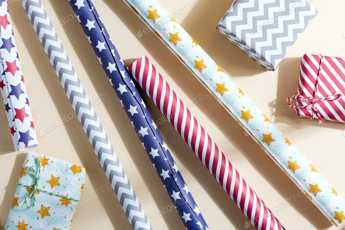 Rolls of colorful wrapping paper for gift boxes