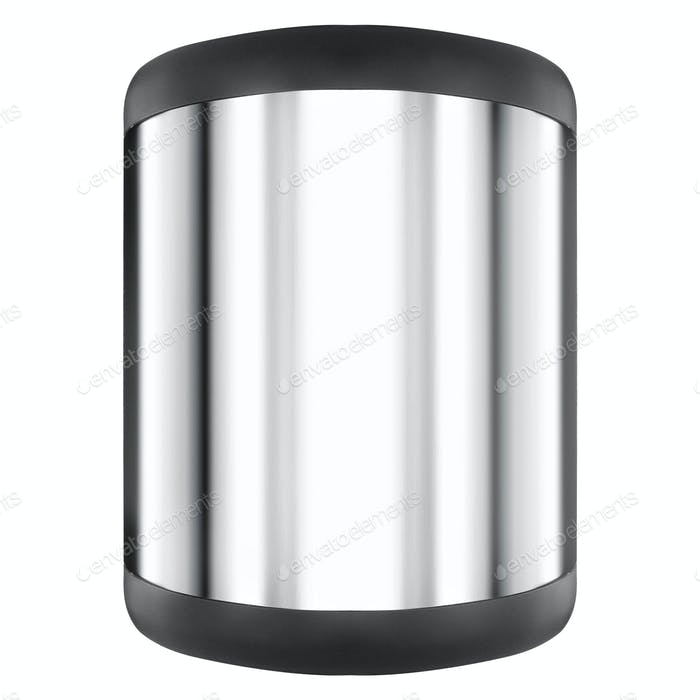 Metal round container isolated on white