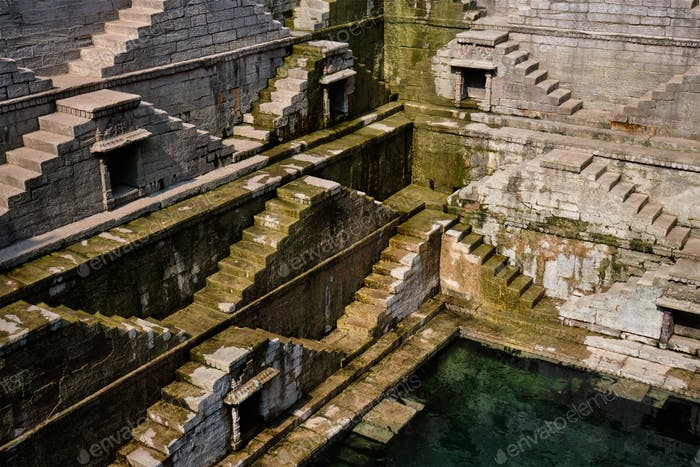 Toorji Ka Jhalra Bavdi Stiefbrunnen. Jodhpur, Rajasthan, Indien