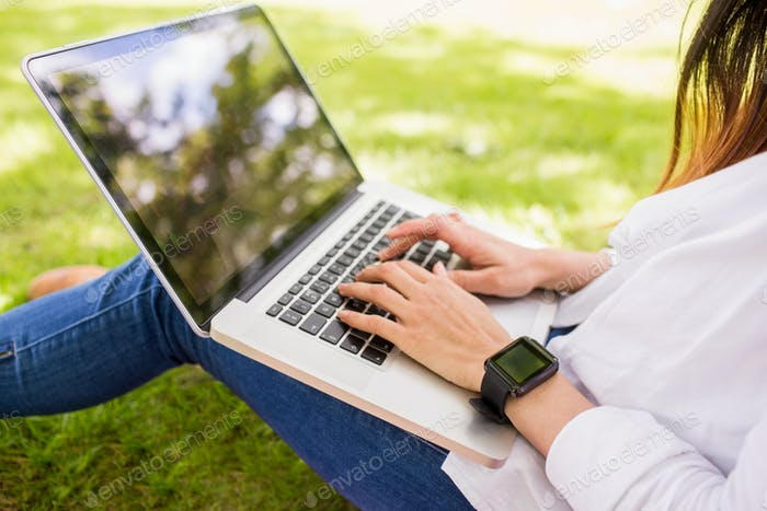 Beautiful brunette using laptop in the park on a sunny day
