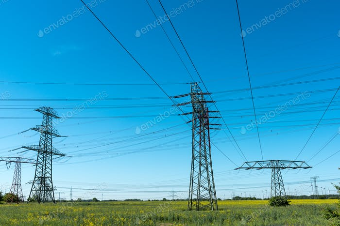 Transmission towers with power lines