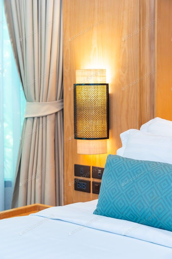 Beautiful luxury comfortable white pillow blanket on bed decorat