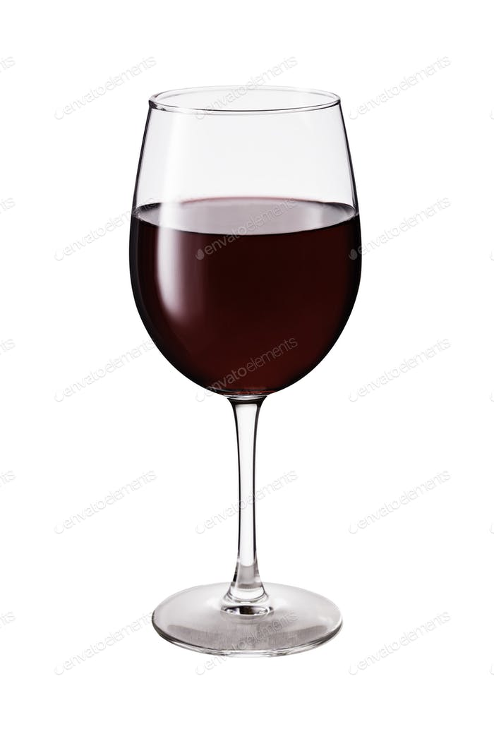Refreshing Red Wine Glass on White