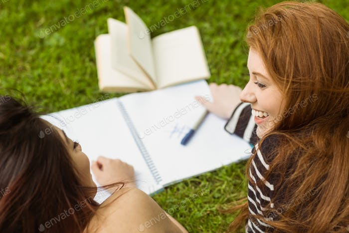 Relaxed female college students with books in the park