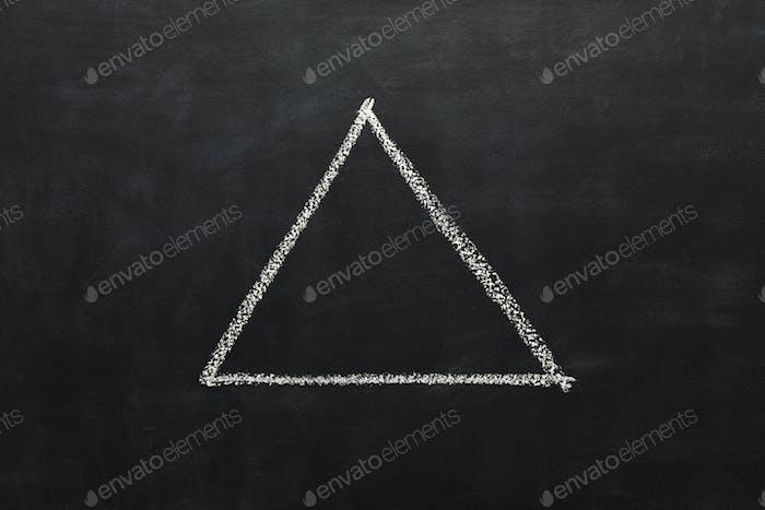 Triangle drawn with chalk on blackboard