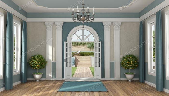 Home entrance of a luxury villa