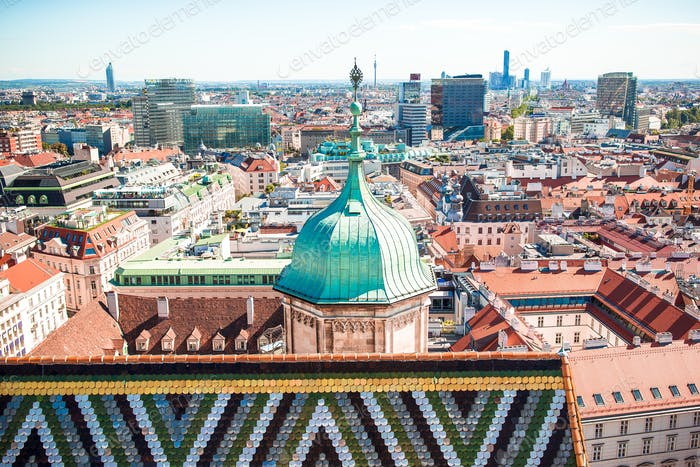 View from St. Stephen's Cathedral over Stephansplatz square in Vienna, capital of Austria on