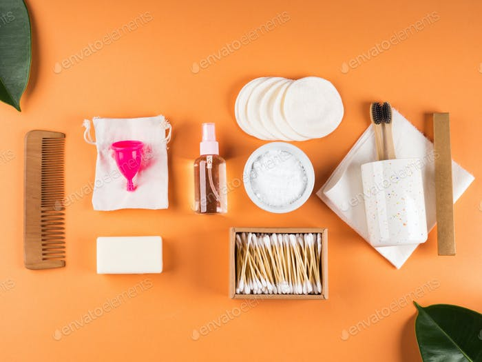 Zero waste beauty body care items on orange