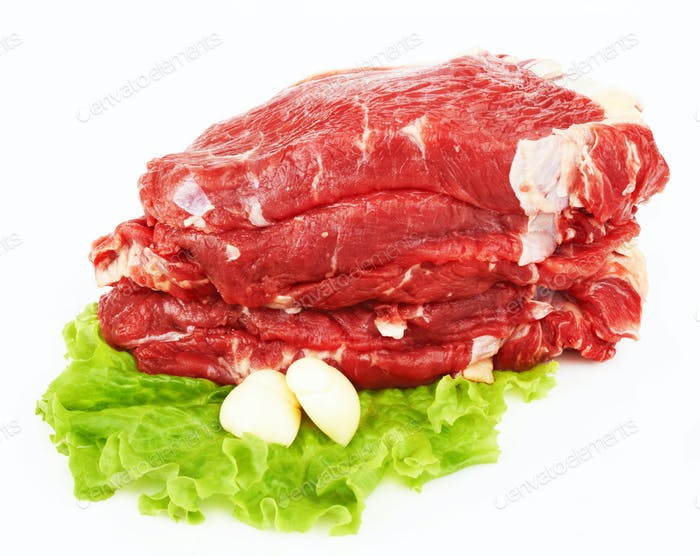 the pieces of raw fillet steaks