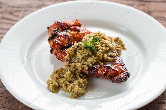 Grilled chicken steak with olive tapenade