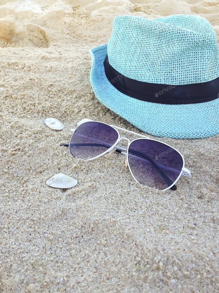 Accessories for vacation on sand at beach,