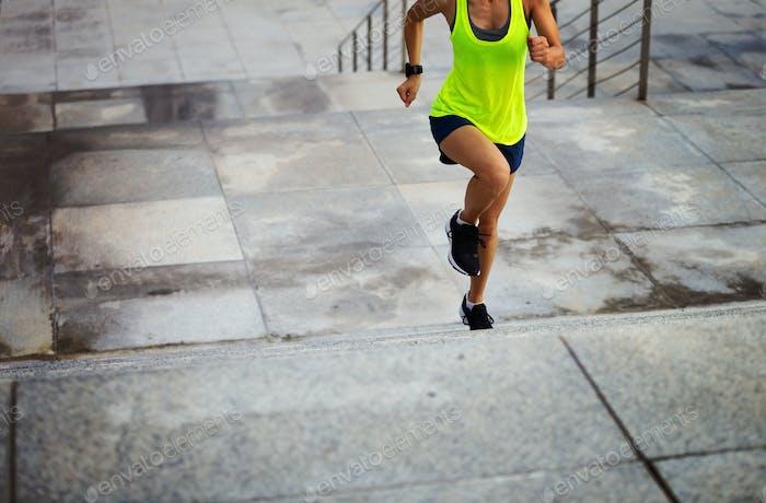 Running on city steps