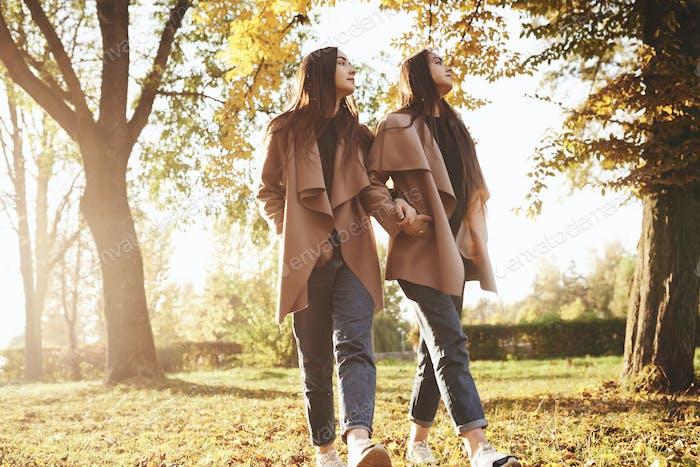 Profile view of young beautiful brunette twin girls walking