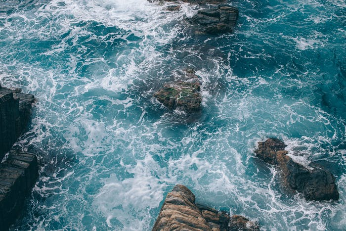 beautiful natural landscape with cliffs and sea in Riomaggiore, Italy