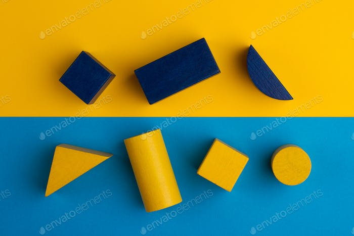 abstract square color composition with wood blocks