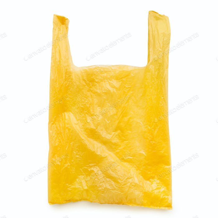 Yellow plastic bag on white