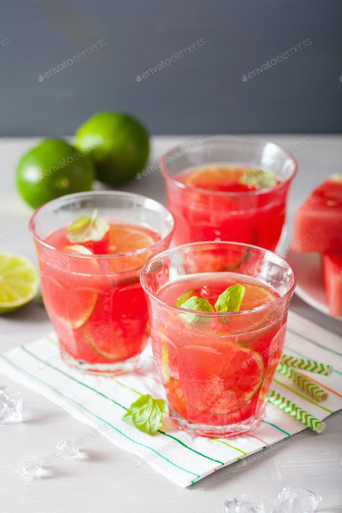watermelon lemonade with lime and mint, summer refreshing drink