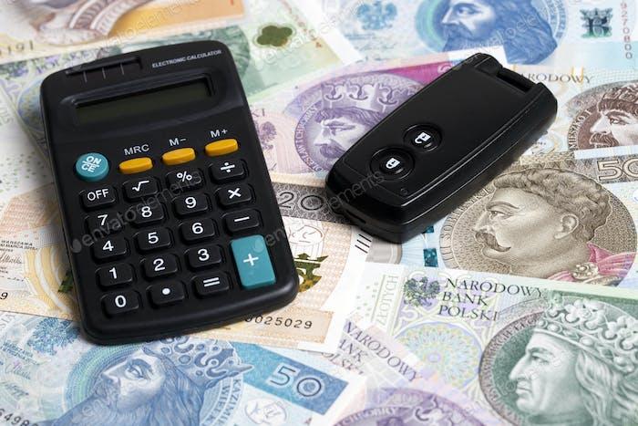 Car key on a Polish money