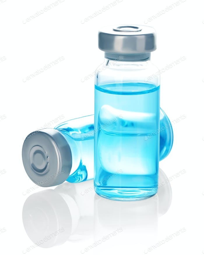 Medizinflasche zur Injektion, Medizinflasche aus Glas auf weißem Hintergrund isoliert.